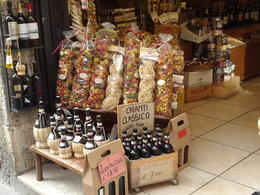 A shop selling local specialties: chianti and pasta. , Silvia L - April 2017
