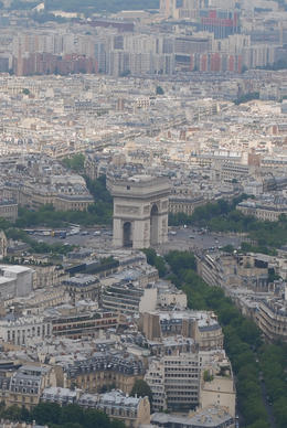 One of the many known sites in Paris clearly visible as you ascend up the Eiffel. , Jeff & Kathy - July 2012