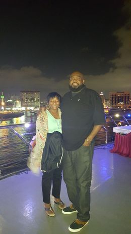 My wife and I on the upper deck of the Dhow , Andre B - January 2016