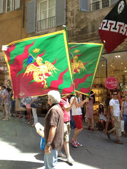 The Dragon neighborhood (contrade) had just won the Palio horserace a few days before our visit. This is a small celebratory parade we got to see as we were eating gelato. , Kathy - July 2014