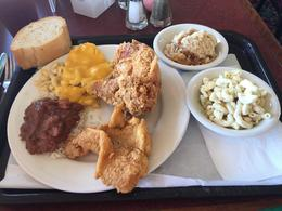 Fried Chicken, Fried Fish, Rice and Beans, Mac and Cheese, Macaroni Salad, Apple Cobbler and a roll - so good , bajajane - October 2016