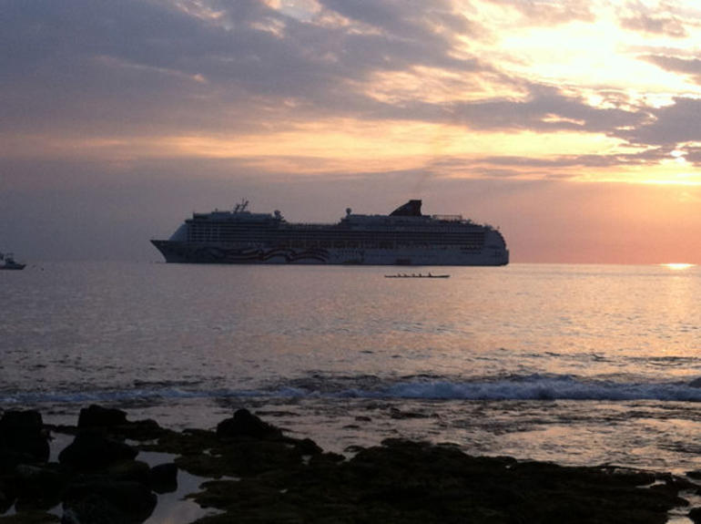 Cruise Ship off Kailua-Kona - Big Island of Hawaii