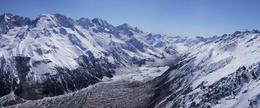 From the helicopter as it entered the Murchison Glacier Valley just prior to the snow landing., Ian C - October 2010