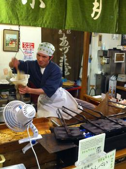 This amazing man was making biscuits at the Nishiki Markets in Kyoto. Watching his skill at his craft was amazing, and you can watch many amazingly talented people as they go about their daily work. ... , Ronald M - April 2013