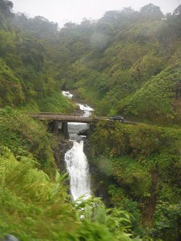 view along the route...one of the many waterfalls and bridges along the Road to Hana , Carol P - May 2016