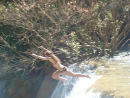 Jumping off one of the falls into the pool 10 meters below. , Robert L - December 2016