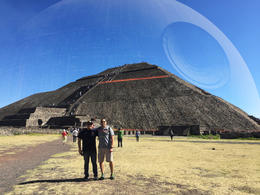 My son and I hanging out at the Pyramid of the Sun. , JOSE E V - January 2017