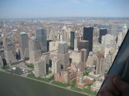 Looking out the helicopter window as we approach Ground Zero. - June 2008