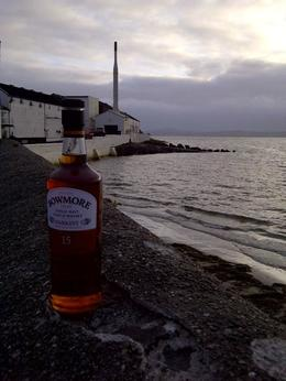 A bottle of Bowmore Darkest at the distillery at Dusk , David N N - August 2014