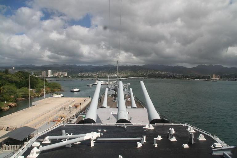 Looking toward the USS Arizona from the bridge of the USS Missouri - Oahu