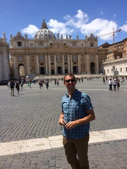 Robert in front of St. Peters. This is where the tour ends. , Everett W - August 2014