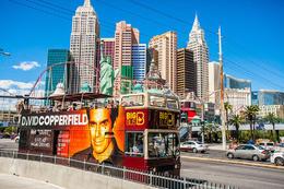 The Las Vegas Big Bus driving past the New York New York Casino., Viator Insider - December 2017
