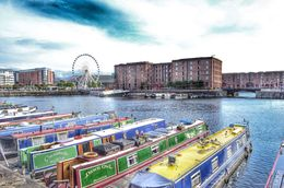 Private boats are moored in the Albert dock. In the background is the 'echo wheel of Liverpool'. , David Lally - September 2015
