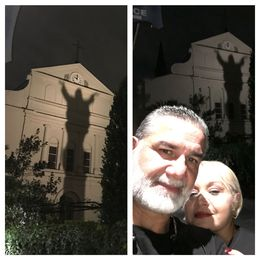At St. Louis Cathedral after hearing our last story about Misha or Michael and Julie tragic love story!!! , MAGGIE - October 2015