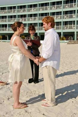 During the wedding ceremony with sand between our toes! - April 2010