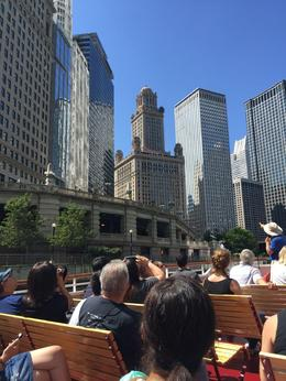 Our guide Jimmy points out neoclassical features and infamous history of the Jeweler's Building above the Chicago Riverwalk. , Mark H - August 2016