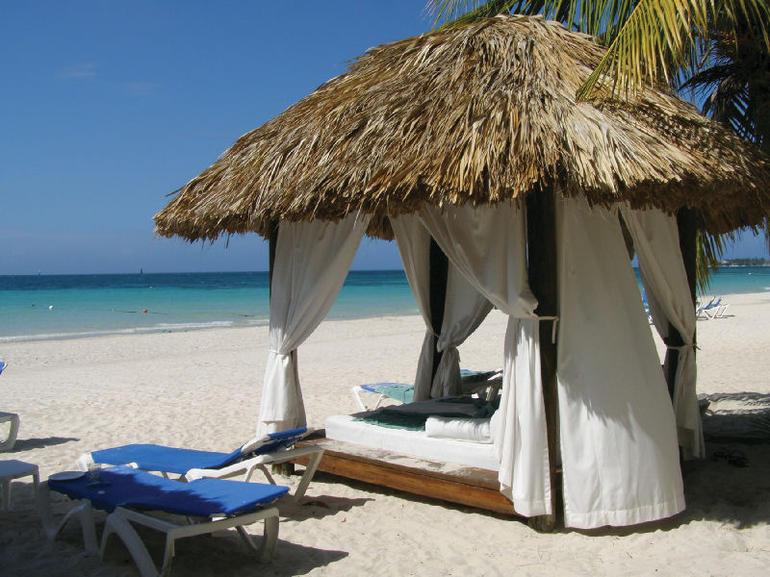 Beach bed on Negril Beach, Ocho Rios, Jamaica -