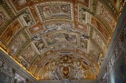 A sample of the style and quality of the artwork found on many of the ceilings in the Vatican, this one is similar to the Sistine Chapel, but lacks the sequential story line found there. , EhViator - September 2015