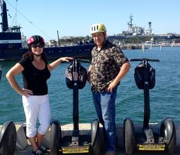 Vivian and Mike enjoying the view of the USS Midway , Vivian T - September 2014