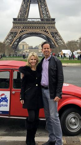 D'Laine and Eric, 2CV Car Tour stop at the Eiffel Tower , DLaine L - January 2018