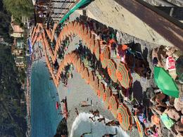 Monterosso Beach - packed with people and umbrella's. , Sue R - October 2016