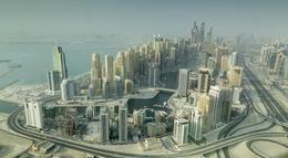 Dubai Marina from the Seawings flight , A P - August 2013
