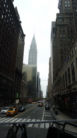 View of Empire State Building from the tour bus. Was a cloudy cool morning. , Melaney J - October 2013