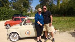 The Webbs from Granger, Indiana, about to embark on the self-drive Vintage Fiat 500 Tour. , Melanie K W - September 2014