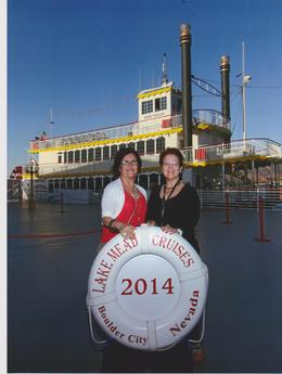 Picture of us in front of the ship. , Monette F - April 2014