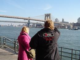 This photo was taken while we were standing on waterfront of Brooklyn facing back at lower Manhattan. You can clearly see the Brooklyn Bridge in the background., Robert R - April 2008