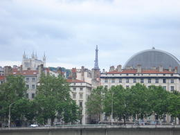 View of the Opera House (the round building) and the Fourviere from across the Rhone., Cat - January 2012