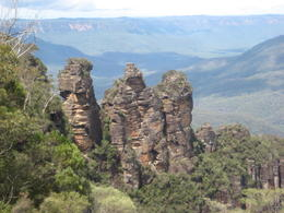 A photo of the Three Sisters rock formation taken from a lookout point in the Blue Mountains. , James W - March 2013