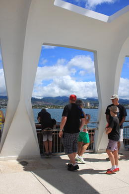 This is a photo of people (don't know them) from inside the Arizona Memorial. , Shelly Y - November 2013