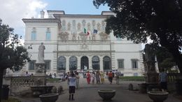 This is the view as you walk from the park up to the Borghese Gallery. There was a mobile shop selling treats and drinks in the park. We walked around until our time to enter came up. , Sarah J - July 2016