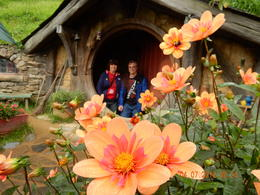 Myself and my husband in a Hobbit house , Monica N - July 2017