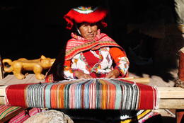 Andean woman with traditional weaving practices , Marissa D - September 2017