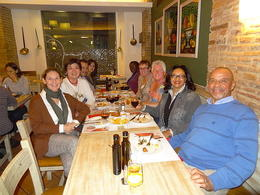 After dinner photo with tour guide Sonia. Frank C. in blue sweater and Wife Linda in grey jacket , FRANK C - November 2011