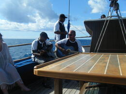 The crew sang to us on the way back. The Fijians have a farewell song and we all joined in that too. , Poppy - January 2012