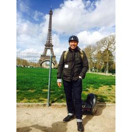 Standing in my 'segway' gear and the segway behind me - in front of the Eiffel Tower! Best feeling ever! , Felix - April 2014