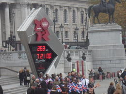 You can find this in Trafalgar Square. People are already gathering for the Olympics Countdown!, CoyoteLovely - November 2011
