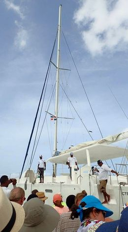 Our group boarding the catamaran in La Romana to set sail for Saona Island. , Allan - September 2015