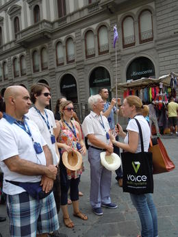 Near market square in Florence with Sara , J B - August 2014