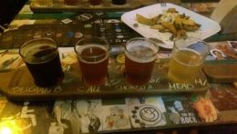The beer samples at our final stop, Steifel Pub, along with a shared tasty bar appetizer. , Yuri B - September 2015