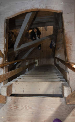 Steep stairs inside windmill. , Ronda E - January 2017