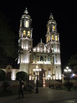 Night view of the cathedral in the colonial town of Campeche. , Kevin F - May 2013