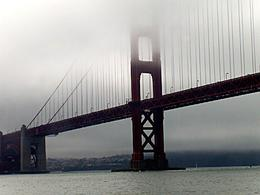 Low clouds covering the Golden Gate bridge as we head towards it., Mandy D - October 2007