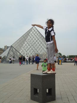My daughter touching the top of louvre with my son looking over behind , Madhugiri V M N - May 2011