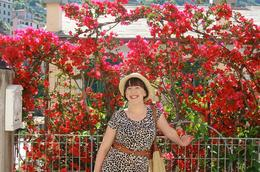 Surrounded by flowers!, Frances - June 2010