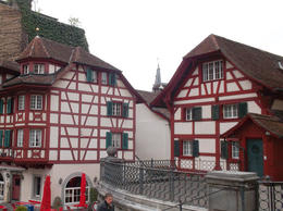 Old traditional swiss house near the main church in Lucerne , Amer T - May 2013