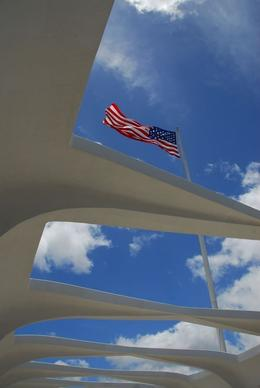 Iconic shot of the US flag flying high above the USS Arizona Memorial at Pearl Harbor., Jeff - February 2008